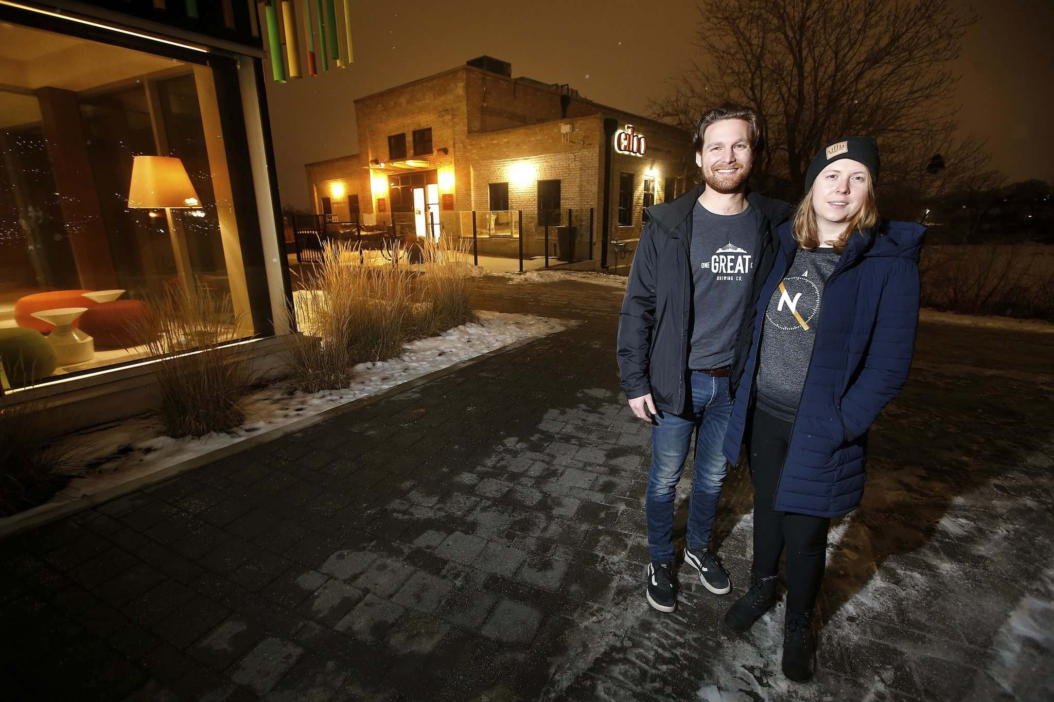 JOHN WOODS / WINNIPEG FREE PRESS</p><p>Husband and wife Rob Holter-Ferguson and Danielle Northam, creators of a website called Let's Order Delivery where Manitobans can find local restaurants and order delivery directly from them, stand outside Cibo, one of the Winnipeg restaurants on their site.</p>