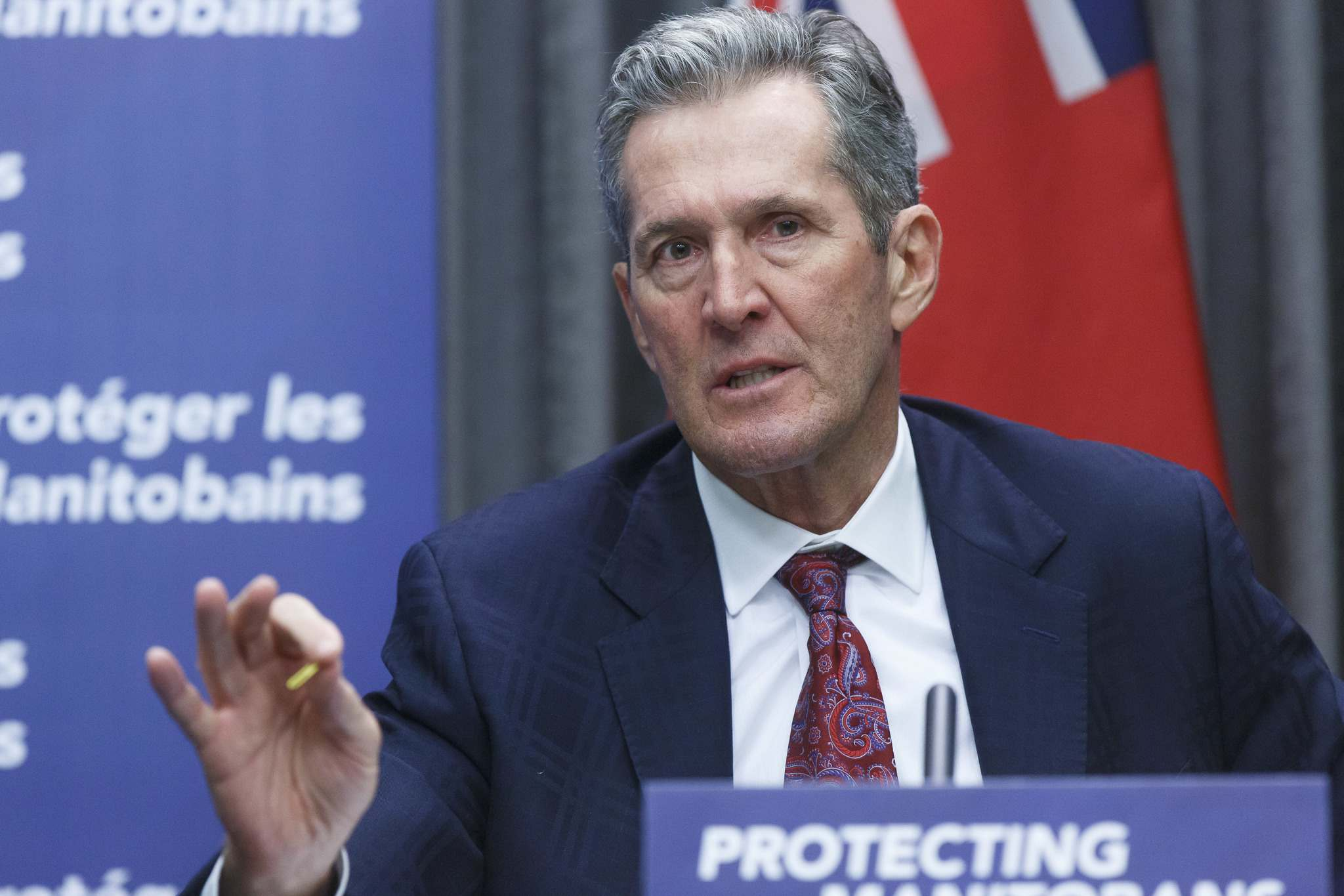 "Premier Brian Pallister, while deferring to chief provincial public health officer Dr. Brent Roussin, said his ""gut feeling"" is that the restrictions on retail operations and gatherings could continue for some time. (Mike Deal / Winnipeg Free Press files)"