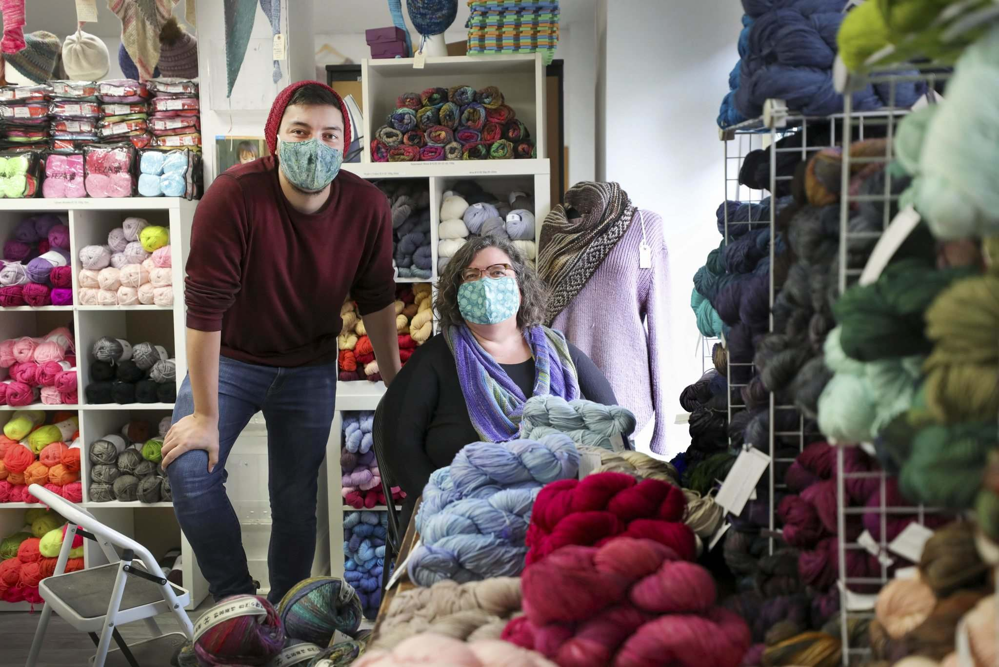 Wolseley Wool owner Mona Zaharia and her son Josh Zaharia in the store on Westminster Avenue. With lockdowns and restrictions the store has moved to online commerce.</p>