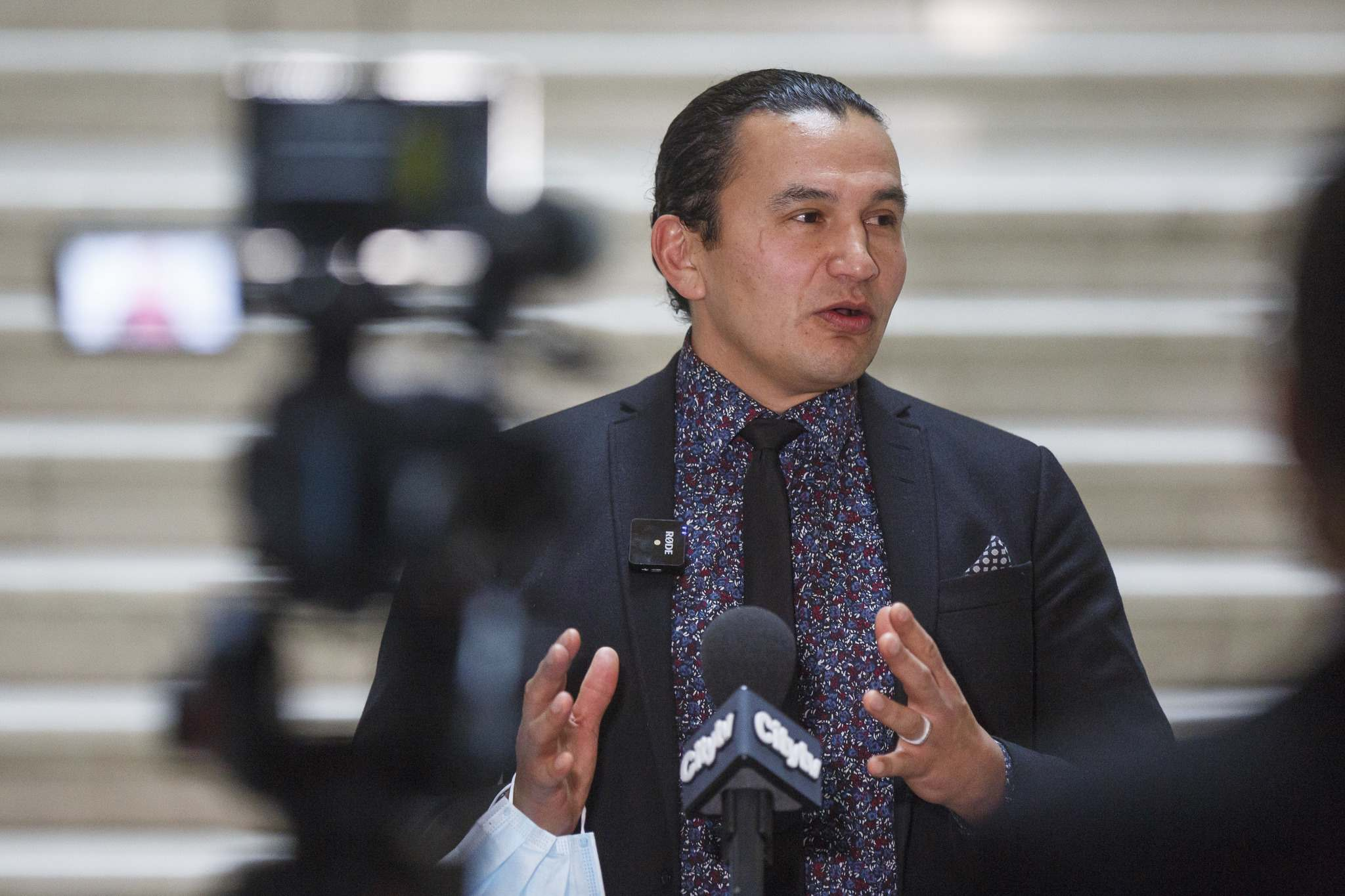 MIKE DEAL / FREE PRESS FILES  NDP Opposition Leader Wab Kinew speaks to the media after question period in the Manitoba Legislative Building.