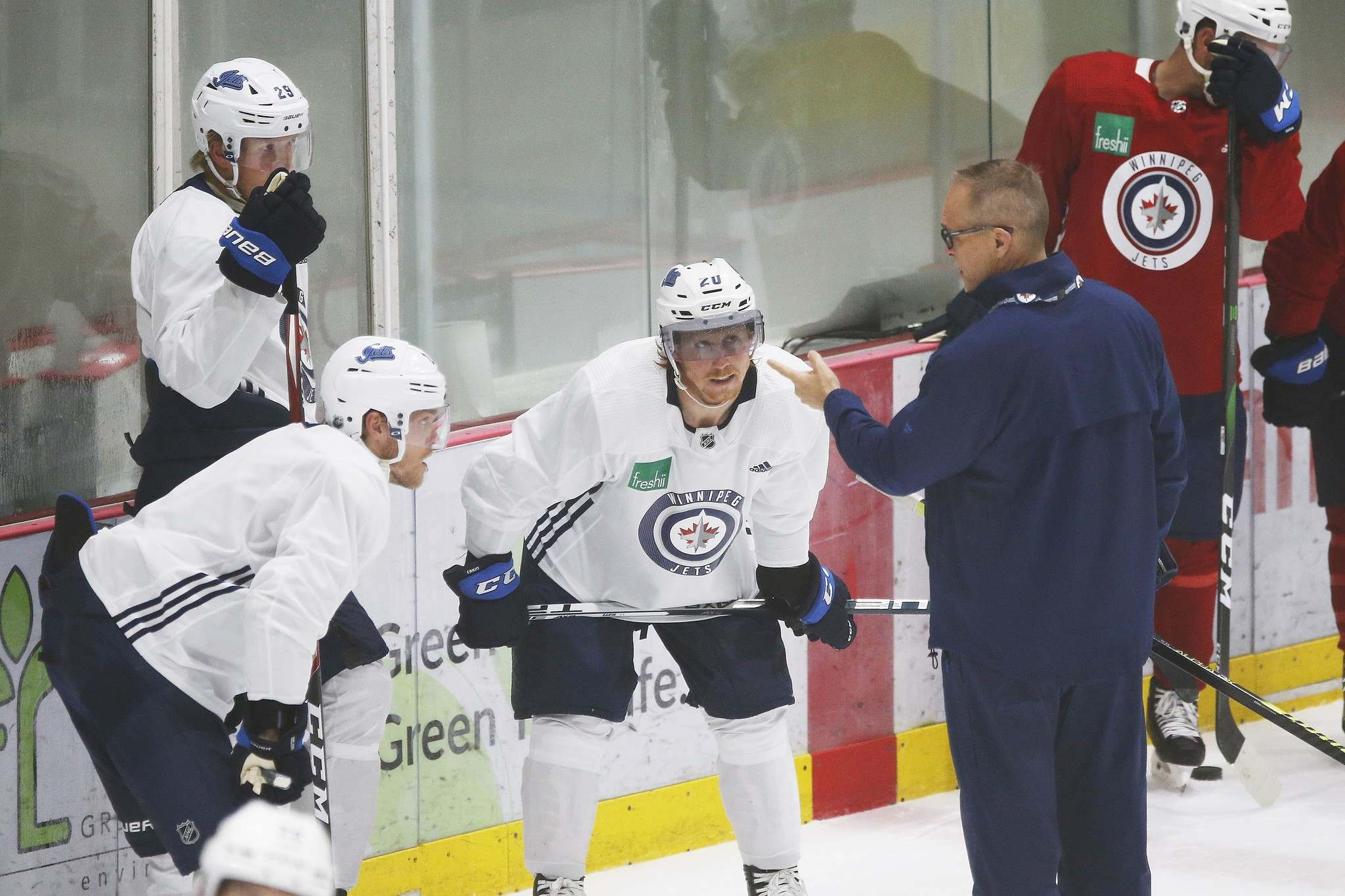 Patrik Laine (from left), Nikolaj Ehlers are returning, as is coach Paul Maurice, but Cody Eakin walked away in free agency. (John Woods / The Canadian Press files)