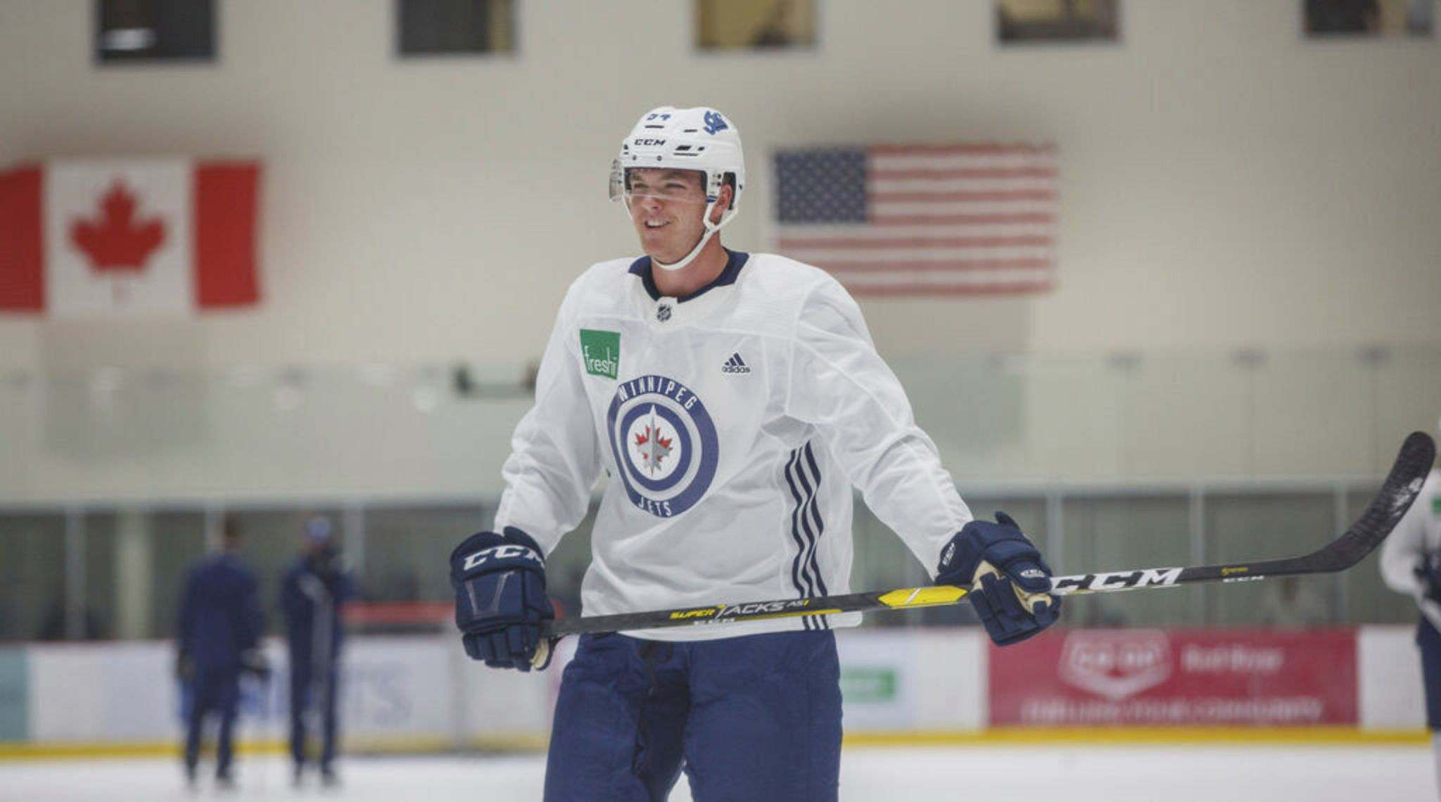 MIKE DEAL / WINNIPEG FREE PRESS FILES</p><p>Rookie defenceman Dylan Samberg, pictured during Winnipeg Jets 2019 development camp, is skating with the early group at the team's training camp, which opened Monday.</p>