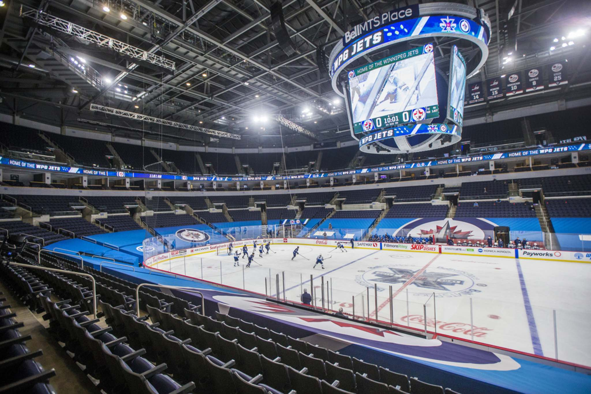 MIKAELA MACKENZIE / WINNIPEG FREE PRESS</p><p>The Winnipeg Jets held a scrimmage in an empty BellMTS Place, Monday. The arena appeared much as it will for Jets homegames this season – with no fans in attendance.</p>