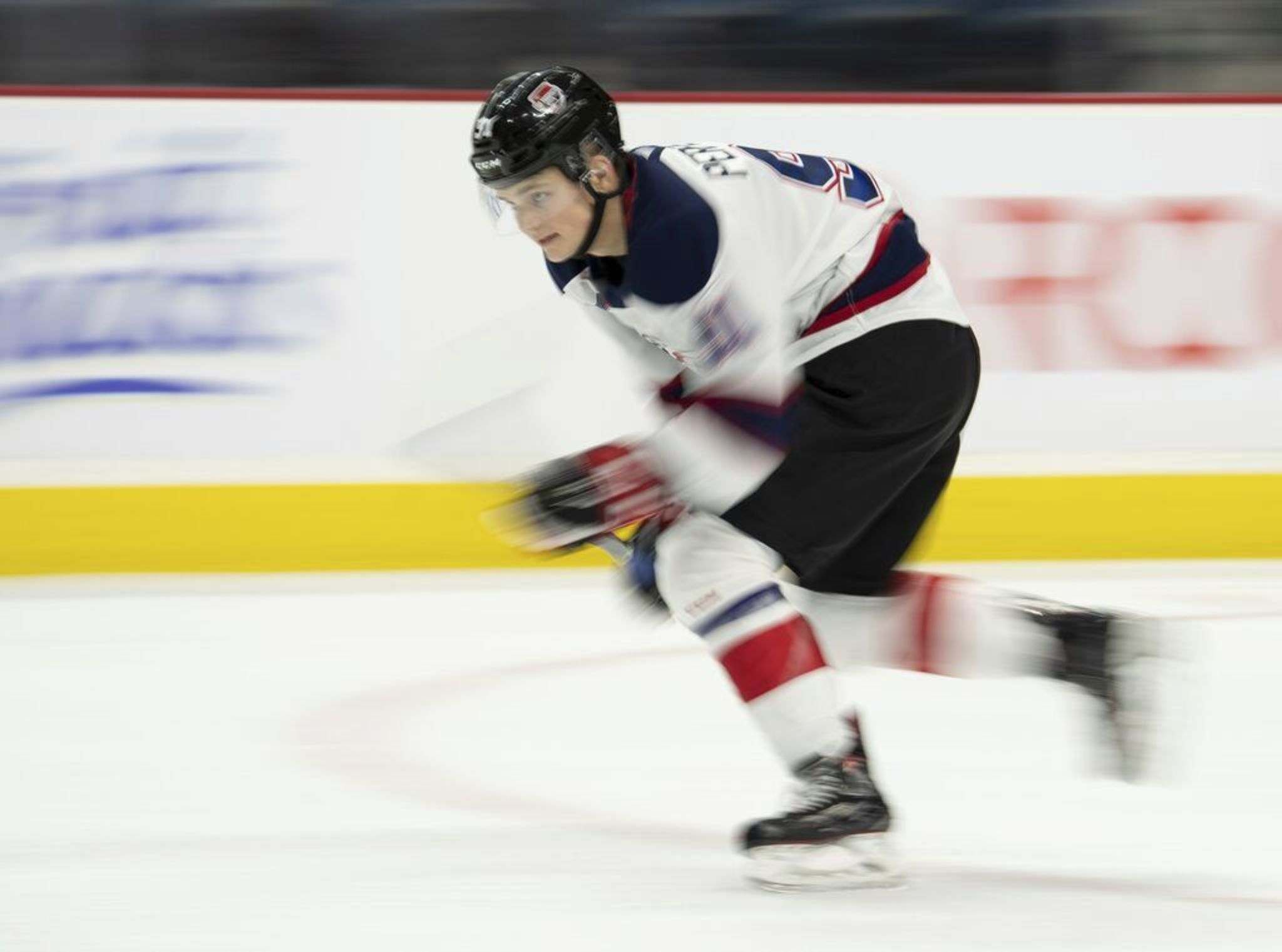 Winnipeg Jets 2020 first-round draft pick Cole Perfetti has been holed up in a hotel room since Sunday as part of the league's COVID-19 protocols. THE CANADIAN PRESS/Peter Power</p>