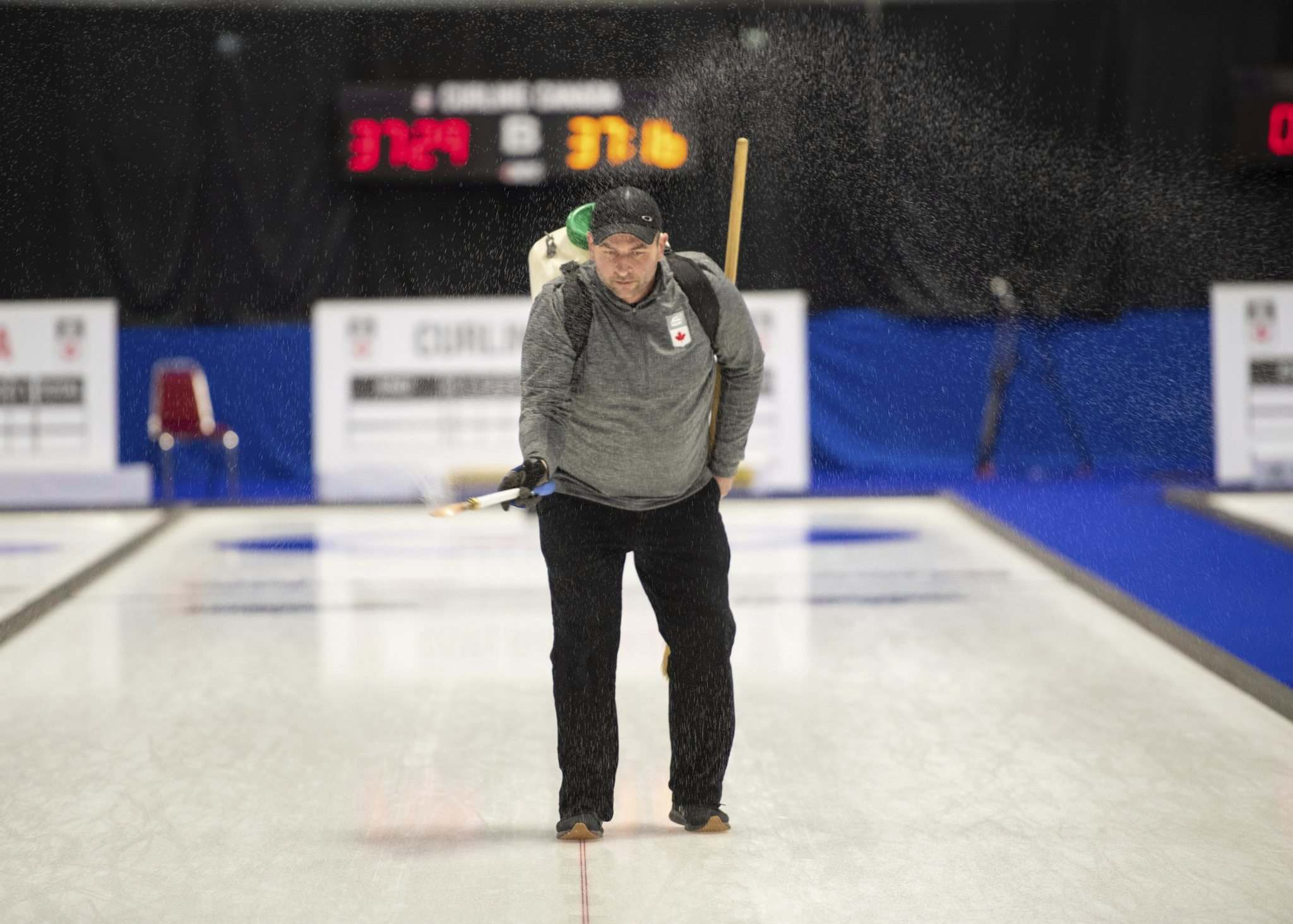 Rob Blanchard / Curling Canada</p><p>Ice-maker Greg Ewasko will be confined to the bubble at Calgary Olympic Park for 77 days.</p>