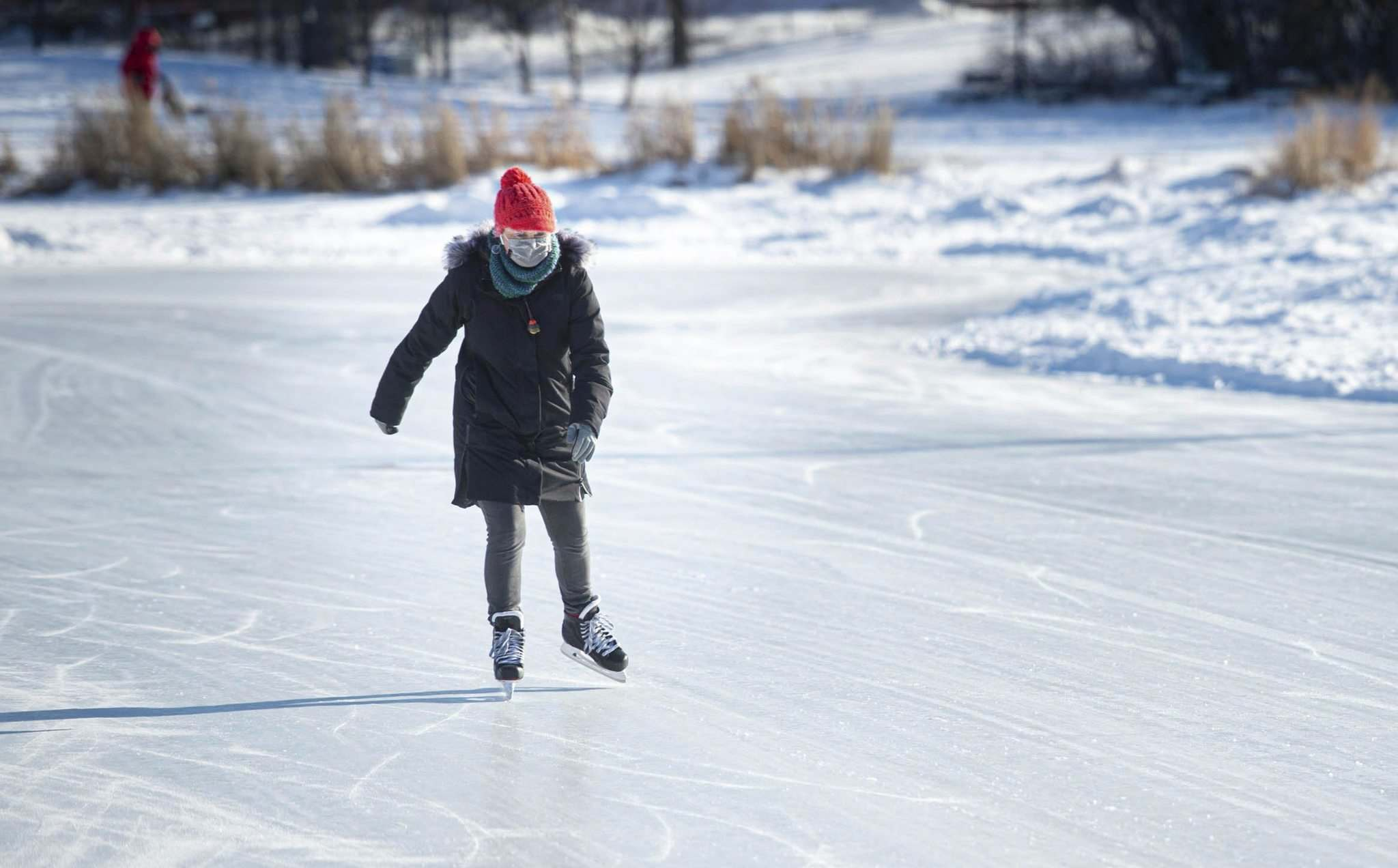 C'Jae Breiter takes to the ice of the Assiniboine Park duck pond despite the frigid temperatures Tuesday afternoon.
