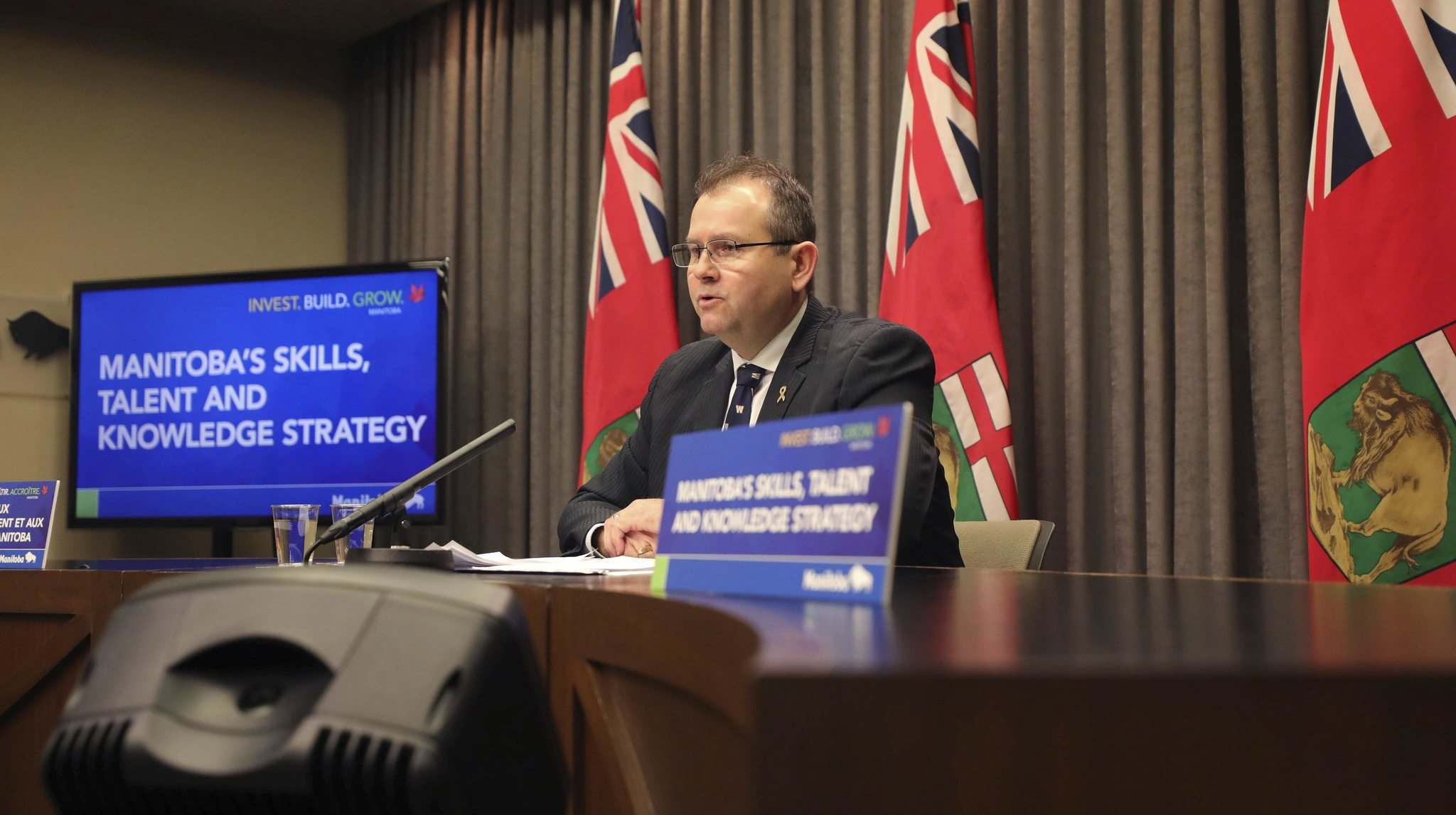 RUTH BONNEVILLE / WINNIPEG FREE PRESS</p><p>Advanced Education, Skills and Immigration Minister, Wayne Ewasko, announces new funding for skills and training courses during a press conference at the Legislative Building Monday.</p>