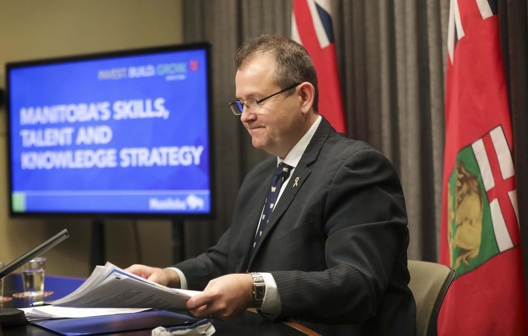 RUTH BONNEVILLE / WINNIPEG FREE PRESS</p><p>Advanced Education, Skills and Immigration Minister Wayne Ewasko announces new funding for skills and training courses on Feb. 8 at the Manitoba legislature.</p>