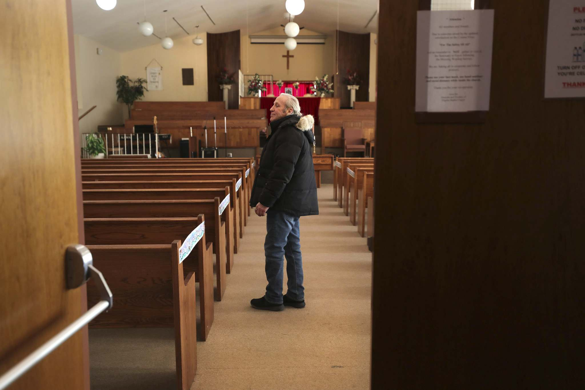 Bill Thomson inside the sanctuary of the church which has been his spiritural home for over 30 years.</p></p>