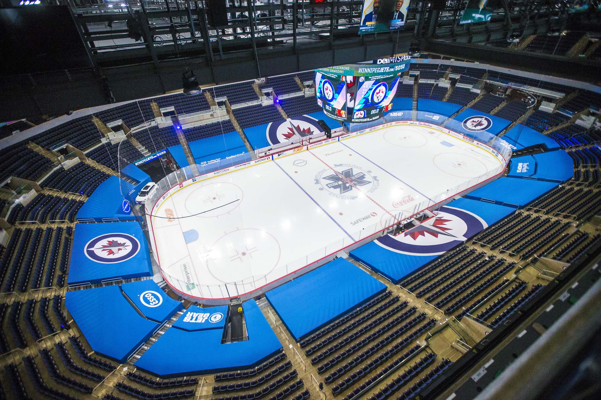 The view from Plested's perch before puck drop. She has been learning on the fly how to conjure up crowd noise. (Mikaela MacKenzie / Winnipeg Free Press)</p>