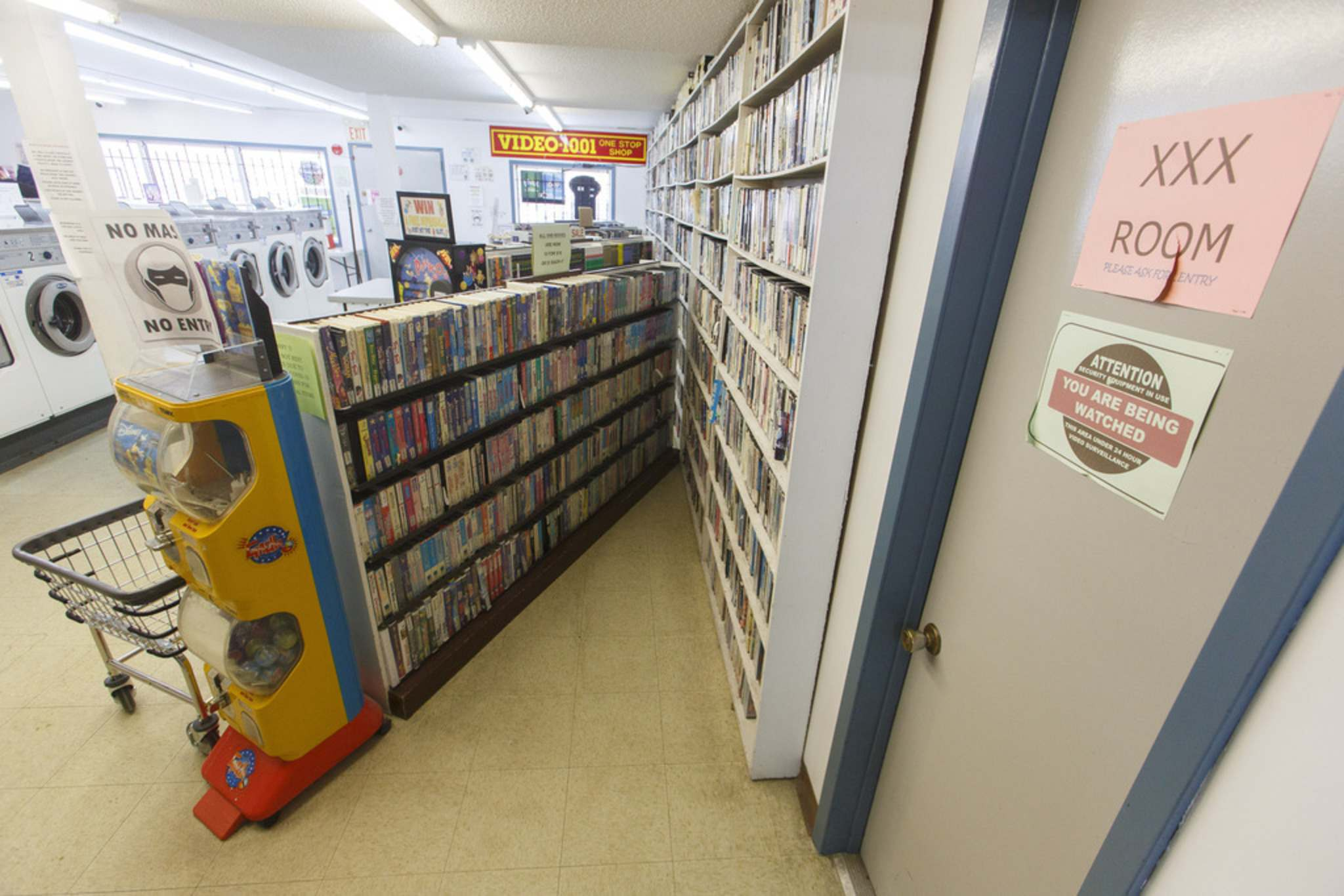 VHS movies, including a substantial number of adult films, are still available for purchase. (Mike Deal / Winnipeg Free Press)</p>