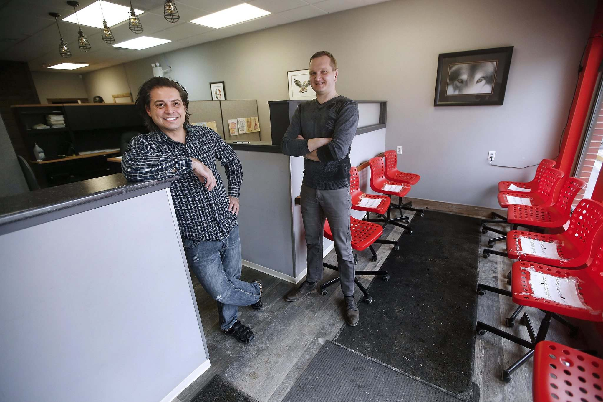 </p><p>TJ Gross, left, and Vitaliy Lebezun are owners of Warkentin Business Solutions in the West End.</p>