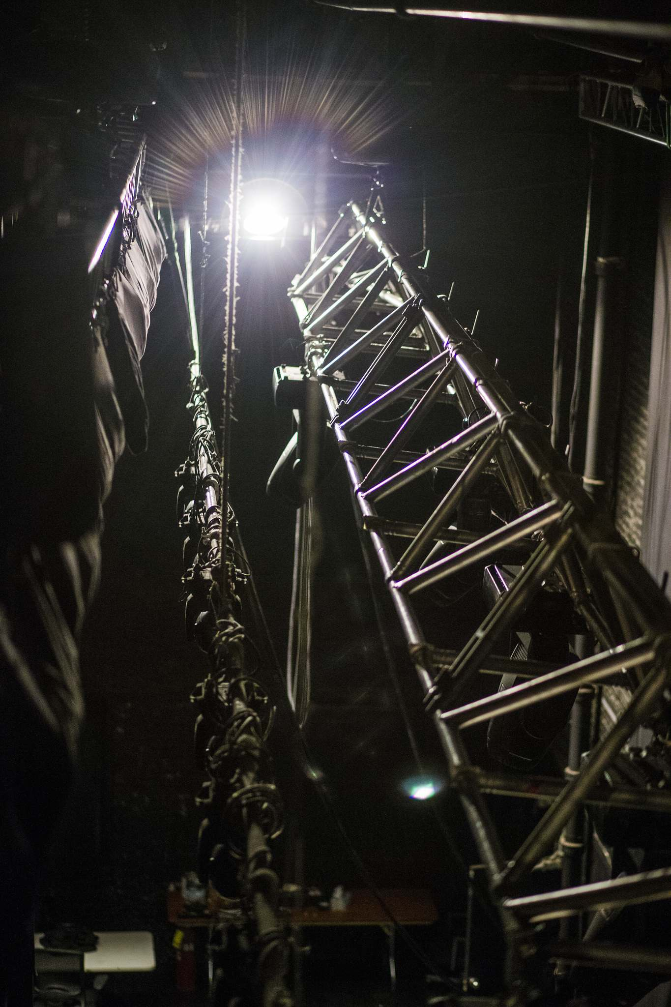 Lights and rigging high above the stage. (Mikaela MacKenzie / Winnipeg Free Press)</p>