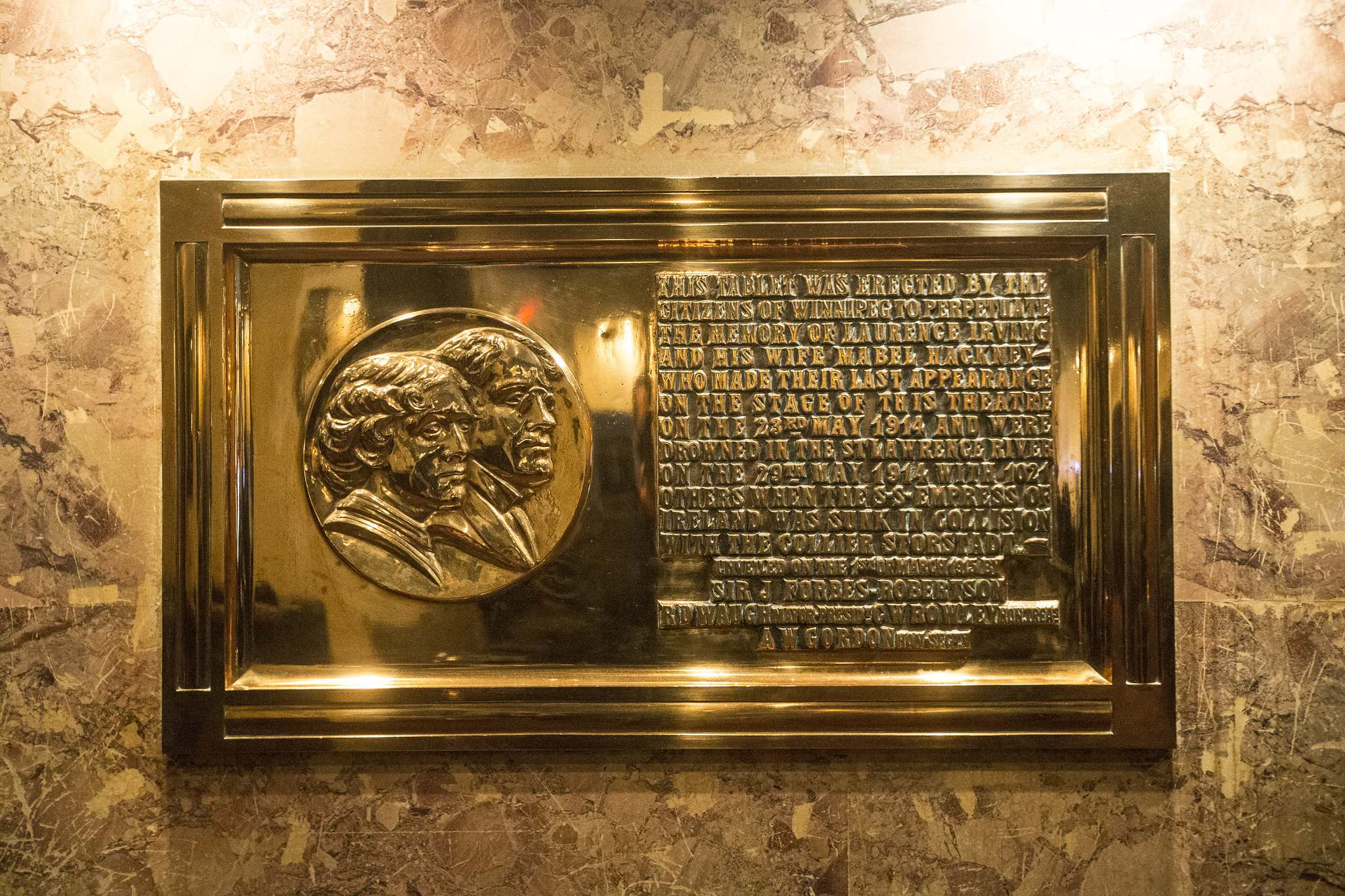 Left: a plaque dedicated to the theatre's resident ghost, Mabel. (Mikaela MacKenzie / Winnipeg Free Press)</p>