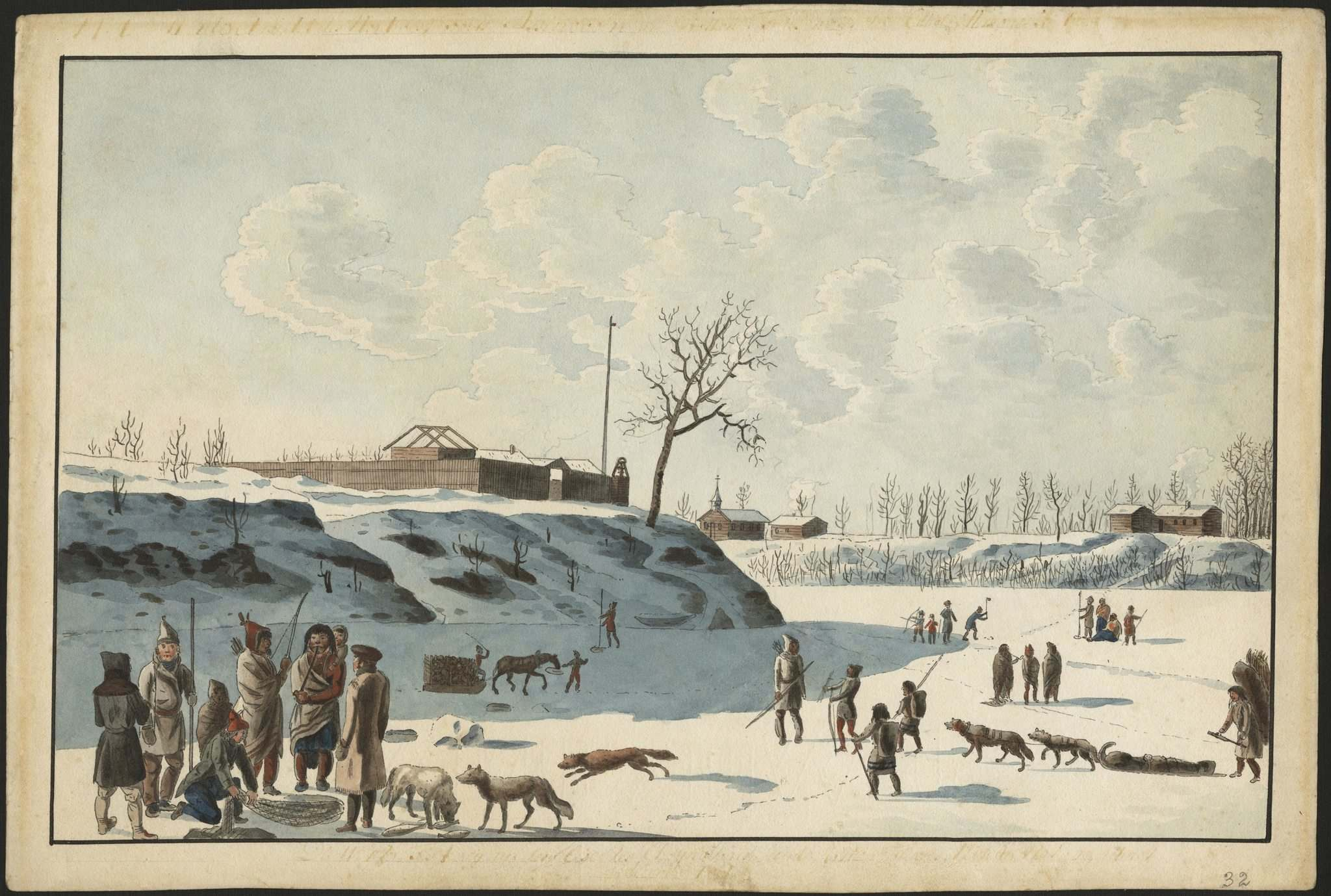 Winter fishing on ice of Assynoibain & Red River, by Peter Rindisbacher (1821).</p>