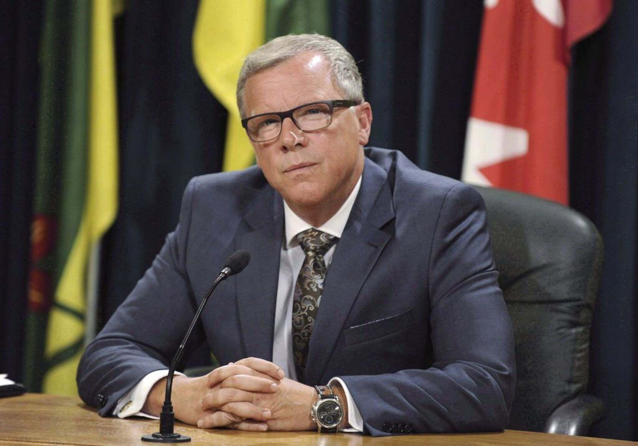 Former Saskatchewan Premier Brad Wall's consulting work and ties to a Calgary firm, which registered to lobby the province, undermine his actual or perceived impartiality and his ability to conduct his role as head of a probe into Manitoba Hydro say the NDP. THE CANADIAN PRESS/Mark Taylor</p>
