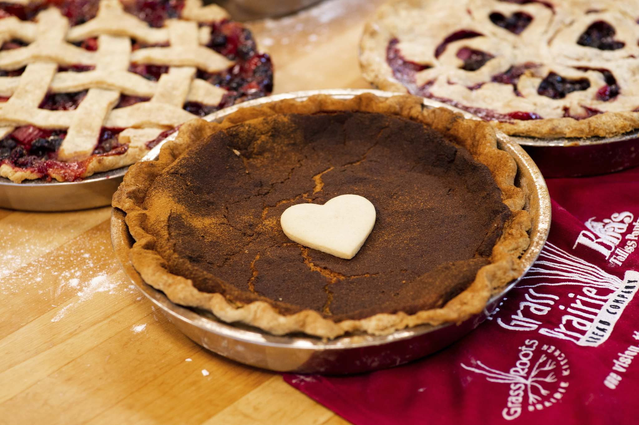 Pies have been a Pi Day constant since the first March 14 event in 1988. You don't need a special celebration to enjoy Tall Grass Prairie Bread Co.'s mixed Prairie fruit, Hutterite sugar and saskatoon-rhubarb pies. (Mike Sudoma / Winnipeg Free Press)</p>