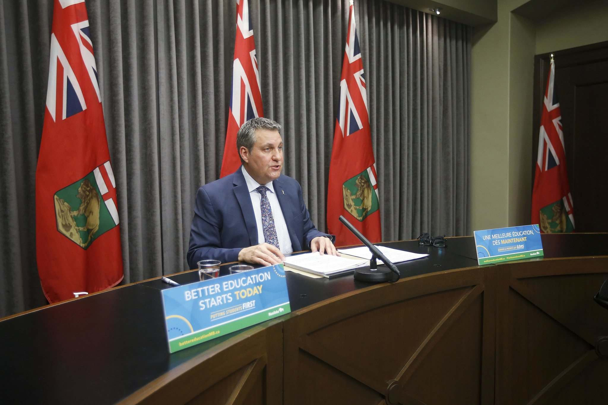 JOHN WOODS / WINNIPEG FREE PRESS</p><p>Minister of Education Cliff Cullen speaks at a press conference about Bill 64 on March 15 at the Manitoba Legislature.</p>