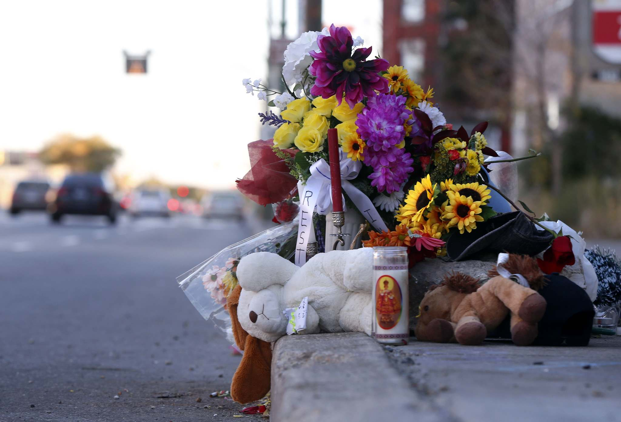 A memorial on Main Street near Sutherland Ave. for 23-year-old Cody Severight.