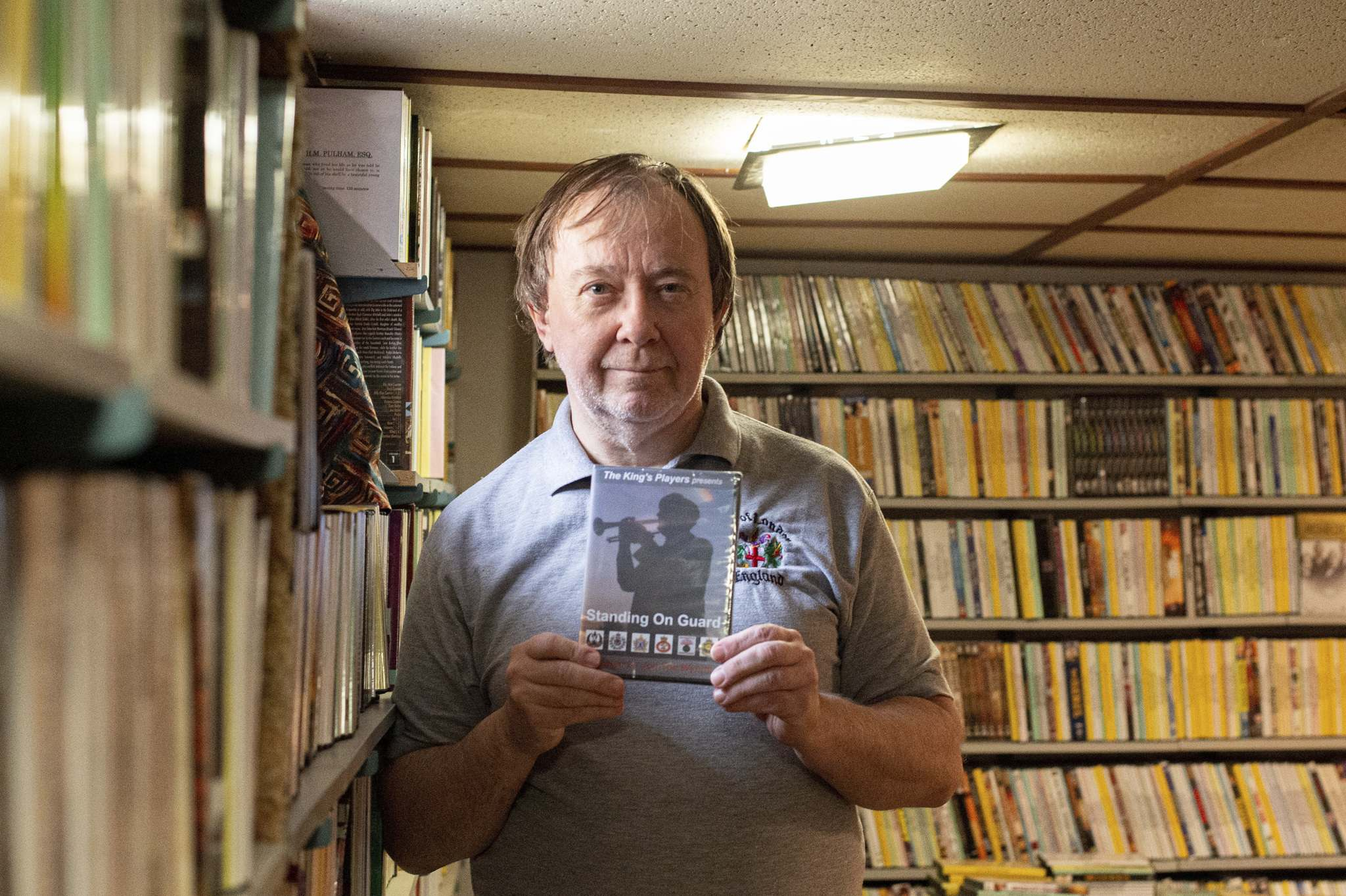 Local filmmaker Jon Ted Wynne shows off a copy of his film, Standing on Guard, which features Prince Philip. (Mike Sudoma / Winnipeg Free Press)</p>