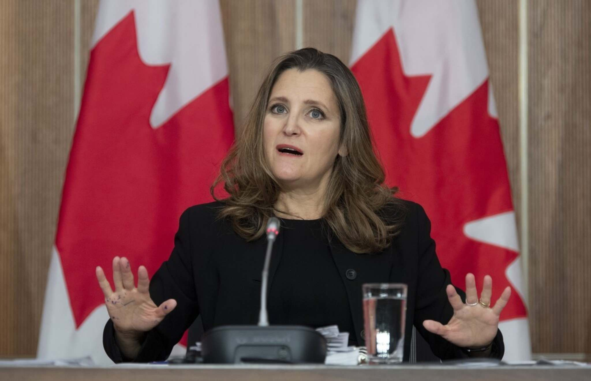 Adrian Wyld / The Canadian Press</p><p>Finance Minister Chrystia Freeland has committed $70 to $100 billion in stimulus spending.</p>