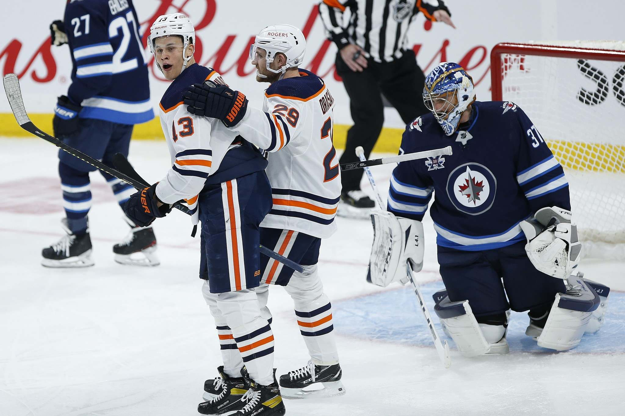 The Edmonton Oilers were the only team on the ice with any energy Saturday night. Jesse Puljujarvi (left) and Leon Draisaitl celebrate Puljujarvi's third-period goal. (John Woods / The Canadian Press files)</p></p>
