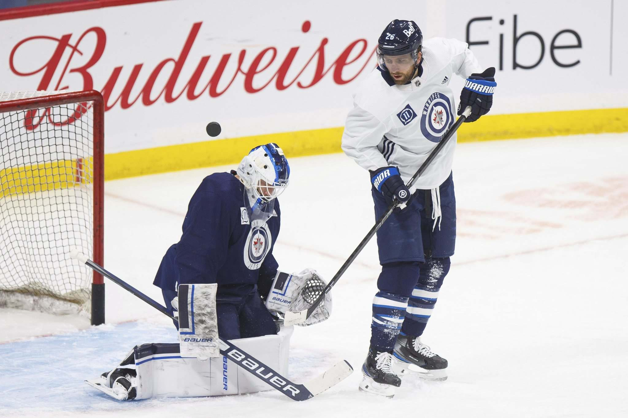 Blake Wheeler takes part in a drill during practice at Bell MTS Place Tuesday morning.