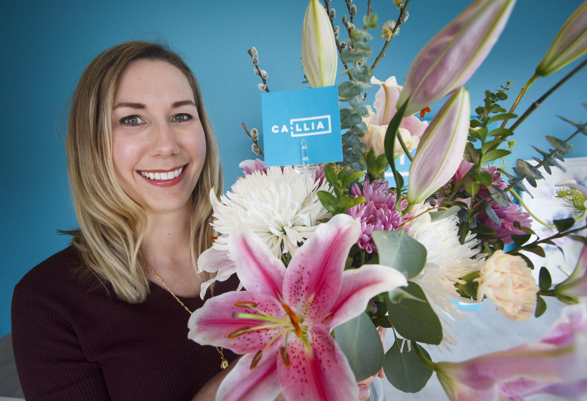 Catherine Metrycki founder and CEO of Callia Flowers, a tech-enabled flower delivery company. (Mike Deal / Winnipeg Free Press)