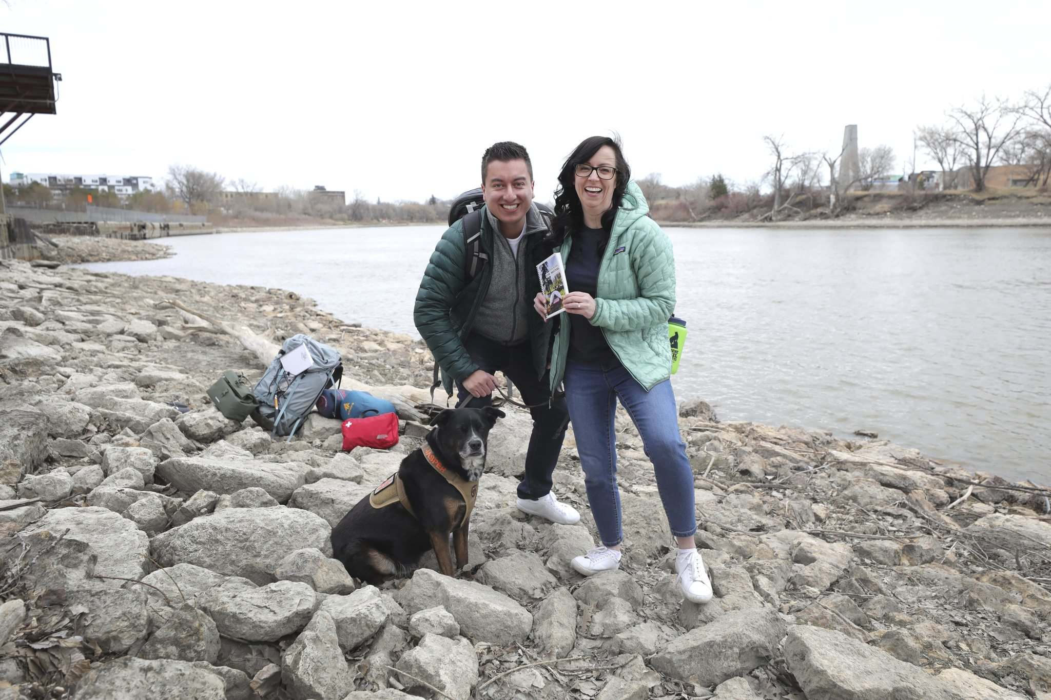 RUTH BONNEVILLE / WINNIPEG FREE PRESS</p><p>Jaime Manness, right, heads out almost every weekend with her fiancé, Ed Acuna, and their dog Jasper to explore the many hiking trails Manitoba has to offer.</p></p>
