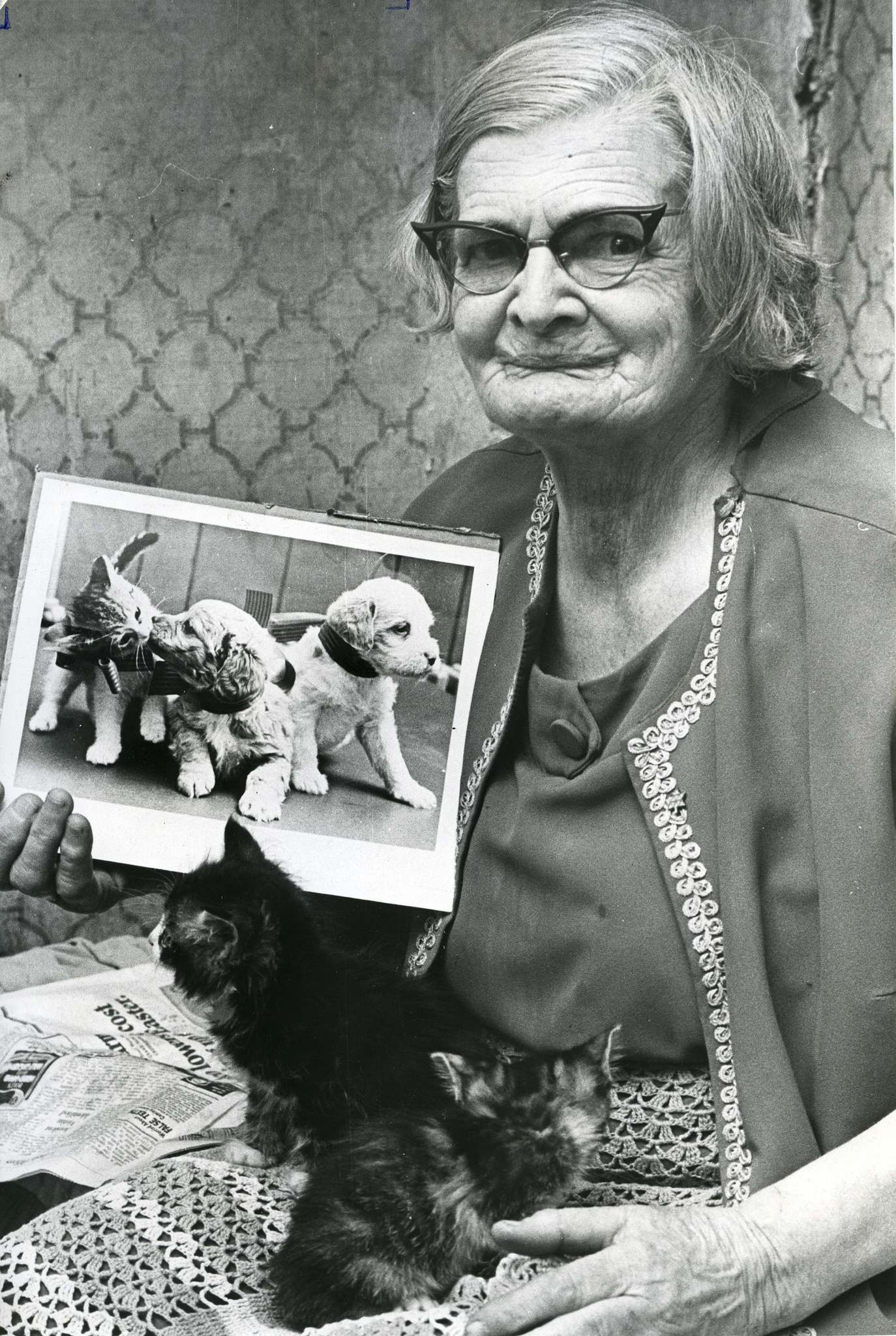 Bertha Rand and two of her kittens pose with a photograph of kittens and puppies together. It was sent to her by the Fort Wayne Humane Shelter, Fort Wayne, Indiana as proof cats and dogs can peacefully co-exist. Rand was known for her love of cats but she admitted she had a soft spot for puppies. (Winnipeg Free Press files)</p>