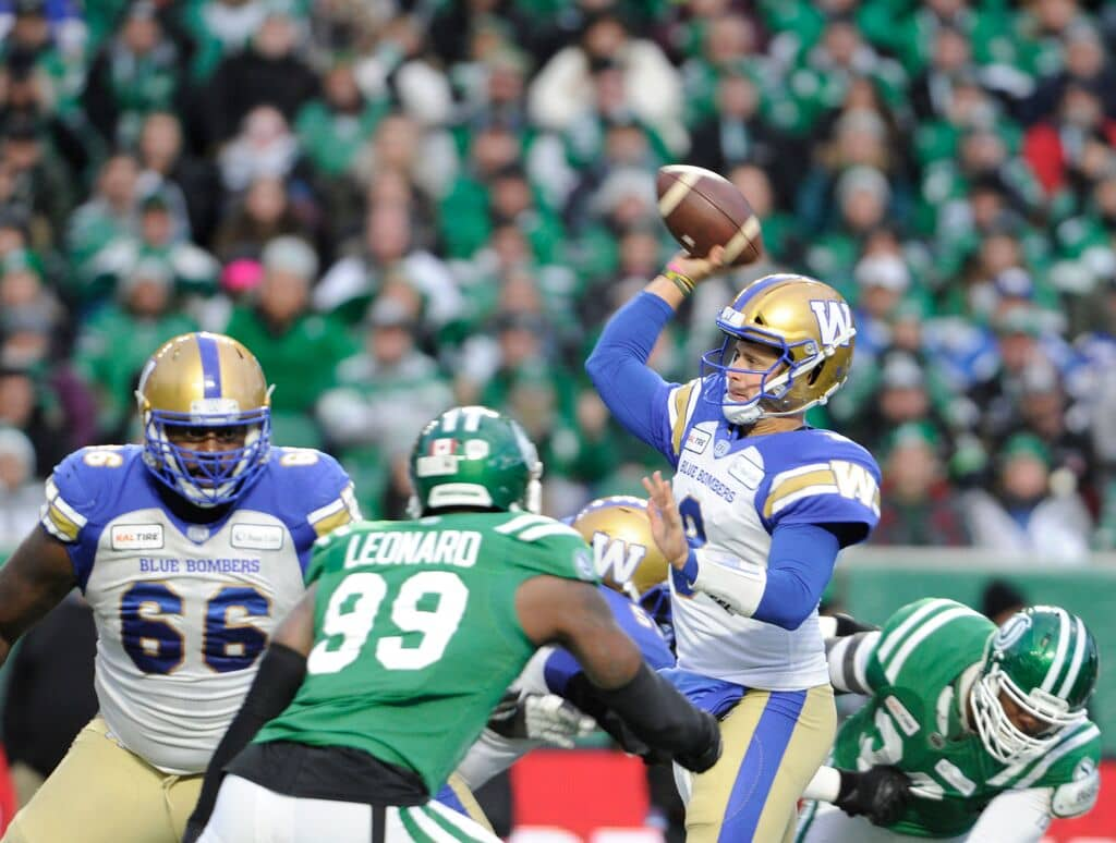 Imagine being able to bet on the outcome of the Labour Day Classic between the Winnipeg Blue Bombers and the Saskatchewan Roughriders at Mosaic Stadium in Regina. (Mark Taylor / The Canadian Press files)