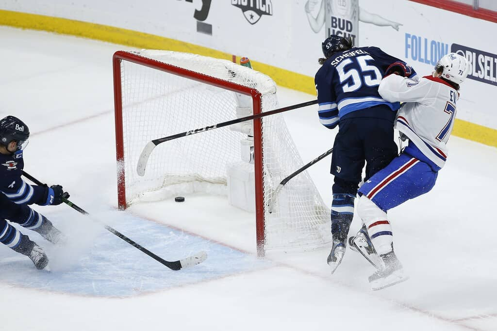The Mark Scheifele hit on Montreal Canadiens' Jake Evans during the opening game of their playoff series that garnered Scheifele plenty of scorn on social media. THE CANADIAN PRESS FILES/John Woods