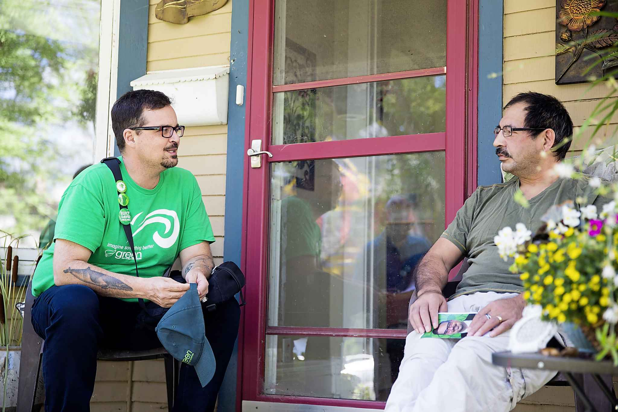 Green candidate Nickarz speaks with Wolseley resident Kenneth Wavey.