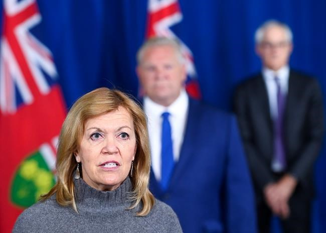 Ontario Health Minister Christine Elliott holds a press conference regarding new restrictions at Queen's Park during the COVID-19 pandemic in Toronto on Friday, October 2, 2020. THE CANADIAN PRESS/Nathan Denette
