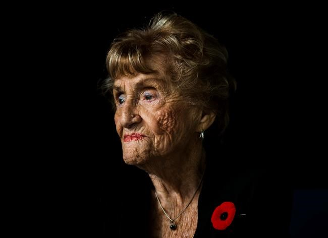 """Holocaust survivor Rose Lipszyc poses for a photograph in Toronto on Tuesday, November 5, 2019. Lipszyc is featured in a new documentary called """"Cheating Hitler: Surviving the Holocaust."""" THE CANADIAN PRESS/Nathan Denette"""