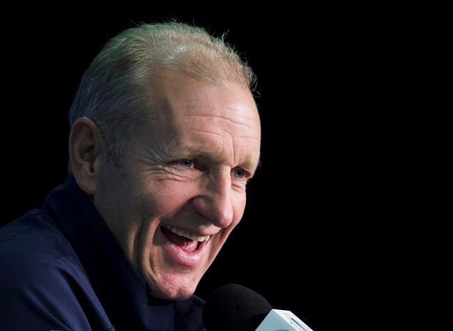 FILE - In this Sept. 28, 2016, file photo, Europe coach Ralph Krueger speaks during a news conference at the World Cup of Hockey in Toronto. A person familiar with the decision tells The Associated Press that the Buffalo Sabres have hired Krueger to become their next head coach. The person spoke to the AP on the condition of anonymity Tuesday night, May 14, 2019, because the team has not announced the hiring. (Nathan Denette/The Canadian Press via AP, File)