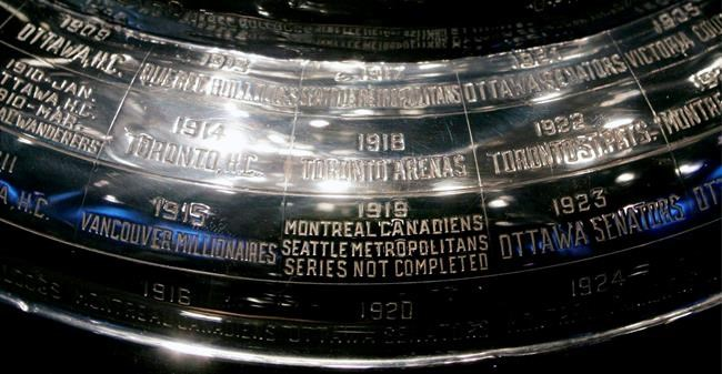 The inscription on the Stanley Cup showing the 1919 series, the only series in the history of the cup not completed, is shown at the Hockey Hall of Fame in Toronto. (Adrian Wyld / The Canadian Press files)