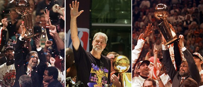 FILE - At left, in a June 13, 1997, file photo, Chicago Bulls coach Phil Jackson hoists the NBA Championship trophy aloft after the Bulls beat the Utah Jazz 90-86 in Game 6 of the NBA Finals. in Chicago. At center, in a June 21, 2000 file photo, Los Angeles Lakers head coach Phil Jackson waves to the crowd as the Lakers and thousands of their fans celebrate their NBA Championship in downtown Los Angeles. At right, in a June 16, 1996 file photo, Chicago Bulls coach Phil Jackson hoists the NBA championship trophy after the Bulls beat Seattle in Game 6 of the NBA Finals in Chicago. Carmelo Anthony says he has heard that 11-time NBA champion coach Phil Jackson will be