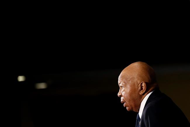 FILE - In this Aug. 7, 2019, file photo, Rep. Elijah Cummings, D-Md., speaks during a luncheon at the National Press Club in Washington. Cummings, a sharecropper's son who rose to become the powerful chairman of one of the U.S. House committees leading an impeachment inquiry of President Donald Trump, died Thursday, Oct. 17, 2019, of complications from longstanding health issues. He was 68. (AP Photo/Patrick Semansky, File)