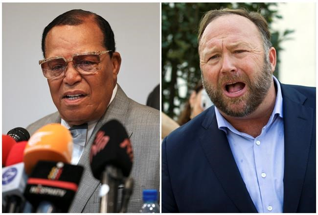 This combination of file photo shows minister Louis Farrakhan, the leader of the Nation of Islam, in Tehran, Iran, on Nov. 8, 2018, left, and conspiracy theorist Alex Jones in Washington on Sept. 5, 2018, right. Facebook has banned Louis Farrakhan, Alex Jones and others from its platform and from Instagram saying they violated its ban against hate and violence. The company said Thursday it has also banned extreme right-wing figures Paul Nehlen, Milo Yiannopoulos, Paul Joseph Watson, Laura Loomer and the conservative conspiracy site Infowars. Jones was already banned from Facebook but not from Instagram. (AP Photo)