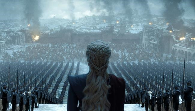 "This image released by HBO shows Emilia Clarke in a scene from the series finale of ""Game of Thrones."" (HBO via AP)"