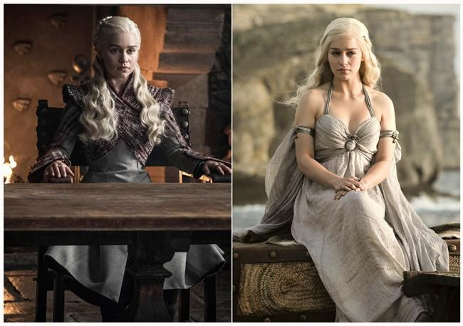"This combination photo of images released by HBO shows Emilia Clarke portraying Daenerys Targaryen in ""Game of Thrones.""The final episode of the popular series airs on Sunday. (HBO via AP)"