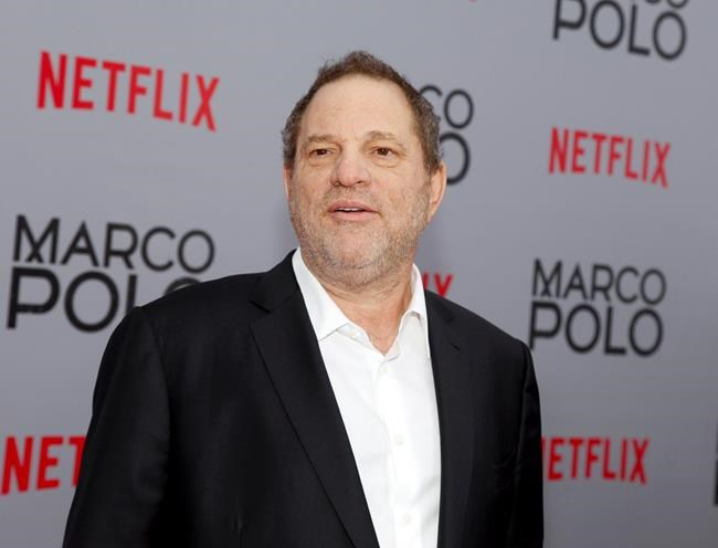 """FILE - In this Dec. 2, 2014, Harvey Weinstein attends the season premiere of the Netflix series """"Marco Polo"""" in New York. Weinstein faces multiple allegations of sexual abuse and harassment from some of the biggest names in Hollywood. (Photo by Andy Kropa/Invision/AP, File)"""