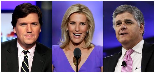 "This combination photo shows, from left, Tucker Carlson, host of ""Tucker Carlson Tonight,"" Laura Ingraham, host of ""The Ingraham Angle,"" and Sean Hannity, host of ""Hannity"" on Fox News. Critics of President Donald Trump who wonder about the tenacity of his supporters need only to spend three hours with Fox News Channel's headliners to understand why. Carlson, Hannity and Ingraham reach roughly three to four million people per weeknight with a full-throated defense of the president. Tuesday night, Carlson referenced ""impeachment insanity."" Hannity denounced ""coup attempts."" And a guest on Ingraham's show compared a government whistleblower to a suicide bomber. (AP Photo)"