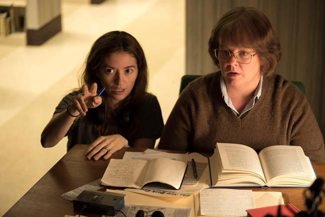 "This image released by Fox Searchlight Films shows director Marielle Heller, left, and Melissa McCarthy on the set of ""Can You Ever Forgive Me?"" None of the films nominated for best picture (comedy/musical and drama) were directed by a woman, nor were any of the five directing nominees women. (Mary Cybulski/Fox Searchlight via AP)"