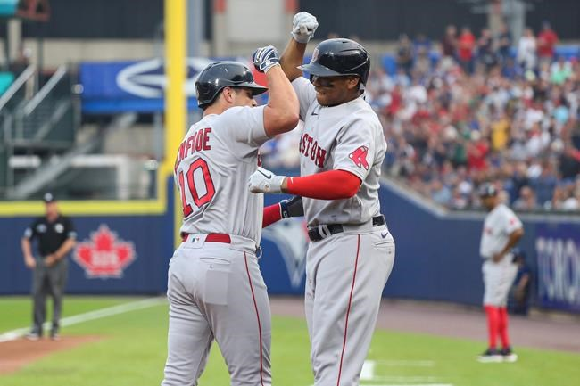 Boston Red Sox Hunter Renfroe, left, celebrates with Rafael Devers, right, after hitting a grand slam during the first inning of a baseball game against the Toronto Blue Jays on Monday, July 19, 2021, in Buffalo, N.Y. (AP Photo/Joshua Bessex)
