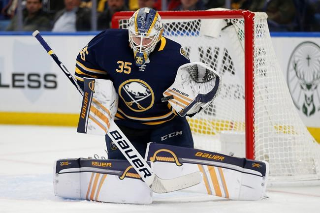 Buffalo Sabres goalie Linus Ullmark (35) makes a save during the second period of an NHL hockey game against the Edmonton Oilers, Thursday, Jan. 2, 2020, in Buffalo, N.Y. (AP Photo/Jeffrey T. Barnes)