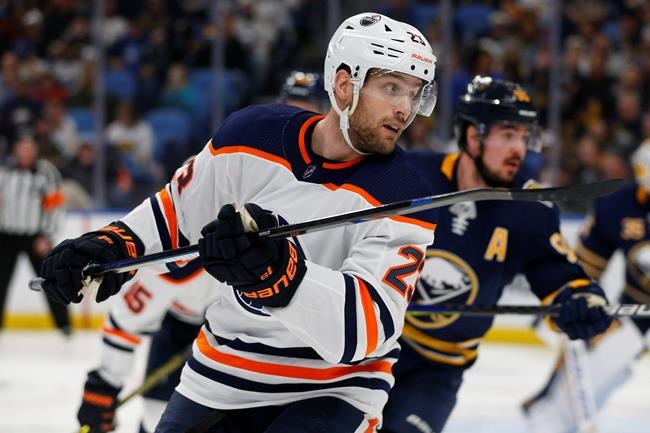 Edmonton Oilers forward Riley Sheahan (23) skates during the second period of an NHL hockey game against the Buffalo Sabres, Thursday, Jan. 2, 2020, in Buffalo, N.Y. (AP Photo/Jeffrey T. Barnes)