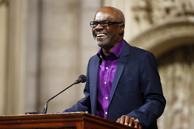 Actor Glynn Turman shares a recollection about Ruby Dee during a memorial service for the actress at The Riverside Church, Saturday, Sept. 20, 2014 in New York. (AP Photo/Jason DeCrow)