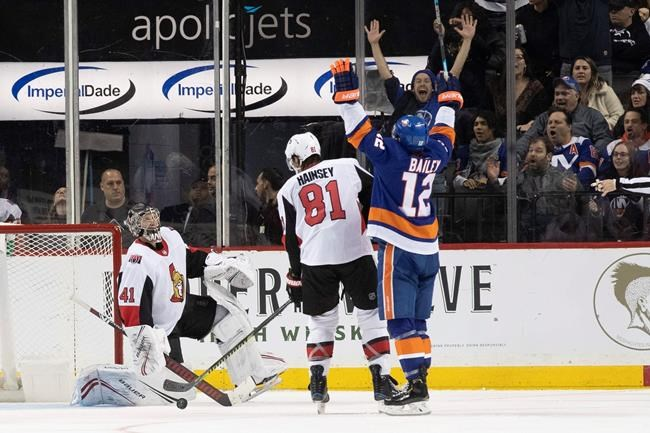 Ottawa Senators goaltender Craig Anderson (41) and reacts after New York Islanders center Josh Bailey (12) scores a goal during the third period of an NHL hockey game, Tuesday, Nov. 5, 2019, in New York. The Islanders won 4-1. (AP Photo/Mary Altaffer)